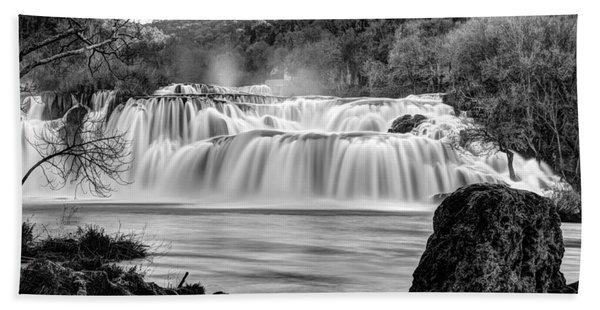 Krka Waterfalls Bw Beach Towel