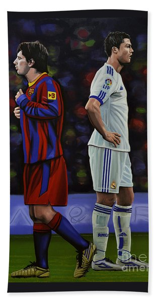 Lionel Messi And Cristiano Ronaldo Beach Towel