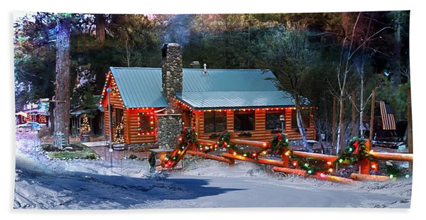 Beach Towel featuring the photograph Log Home On Mount Charleston With Christmas Decoration by Gunter Nezhoda