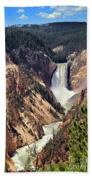 Beach Towel featuring the photograph Lower Falls Of Yellowstone by Jemmy Archer