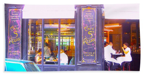 Lunch Time At The Cafe St Regis In Paris Beach Towel