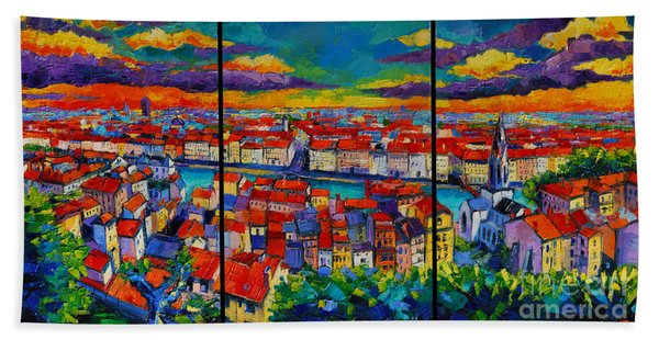 Lyon Panorama Triptych Beach Towel