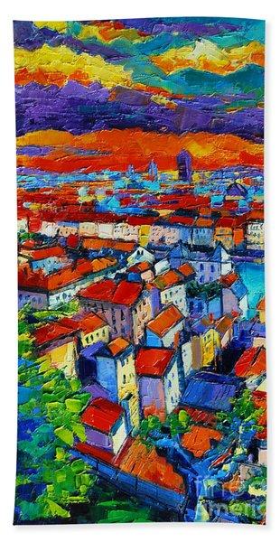 Lyon View - Triptych Left Panel Beach Towel