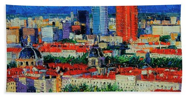 Lyon View From Jardins Des Curiosites  Beach Towel