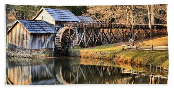 Mabry Grist Mill Fall Panorama Beach Towel