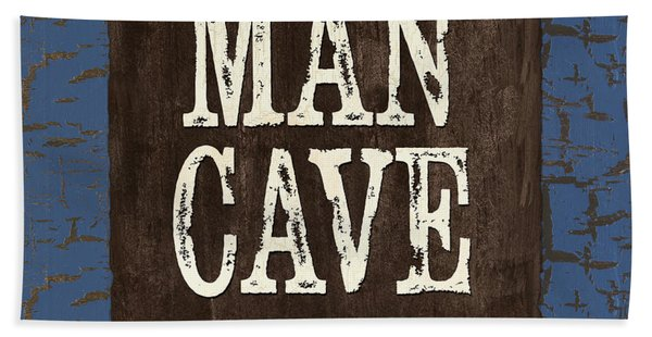 Man Cave Enter At Your Own Risk Beach Towel