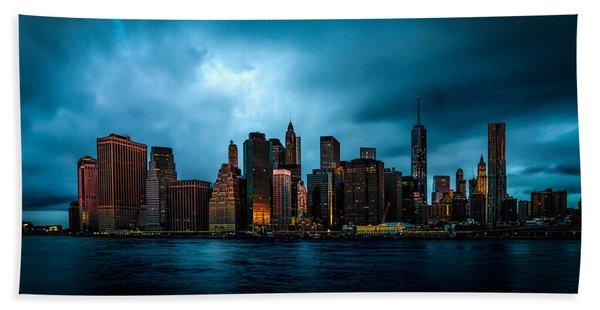 Beach Towel featuring the photograph Manhattan At Dawn by Chris Lord