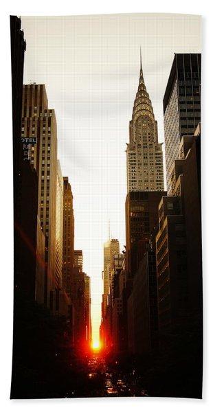 Manhattanhenge Sunset And The Chrysler Building  Beach Towel