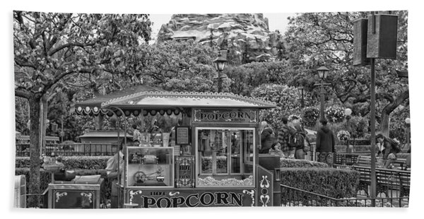 Matterhorn Mountain With Hot Popcorn At Disneyland Bw Beach Towel
