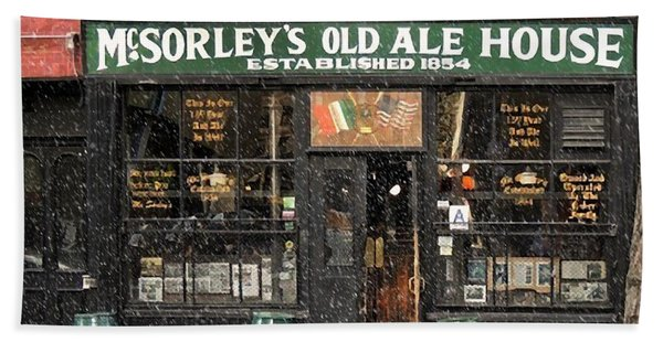 Mcsorley's Old Ale House During A Snow Storm Beach Towel