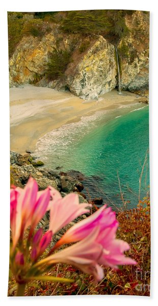 Beach Towel featuring the photograph Mcway Falls-3am Adventure by David Millenheft