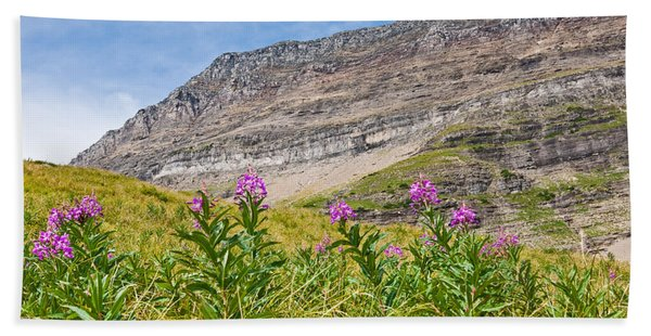 Meadow Of Fireweed Below The Continental Divide Beach Sheet