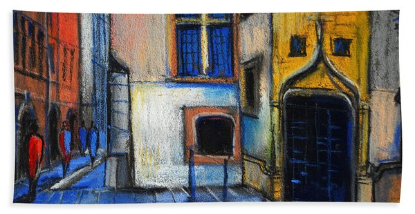 Medieval Architecture In Vieux Lyon France Beach Towel