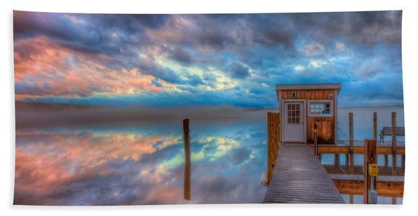 Melvin Village Marina In The Fog Beach Towel