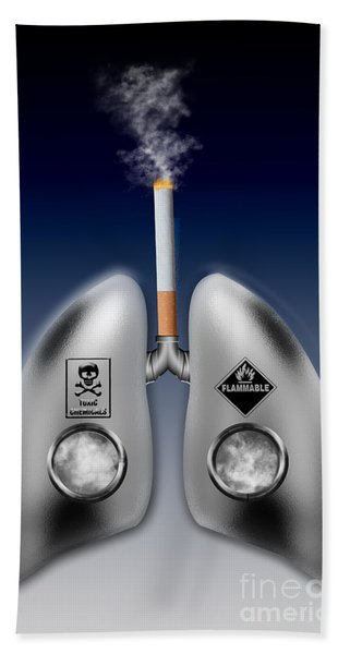 Metal Lungs With Cigarette Smoke Beach Towel