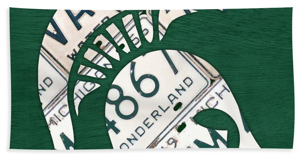 Michigan State Spartans Sports Retro Logo License Plate Fan Art Beach Towel