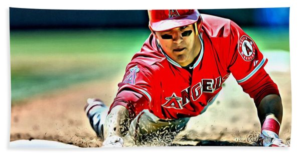 Mike Trout Painting Beach Towel