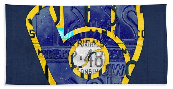 Milwaukee Brewers Vintage Baseball Team Logo Recycled Wisconsin License Plate Art Beach Towel