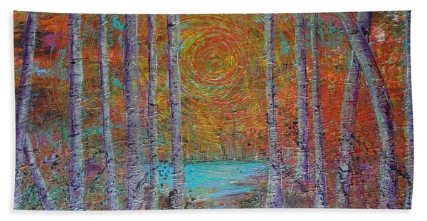 Beach Towel featuring the painting Minnesota Sunset by Jacqueline Athmann