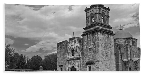 Beach Towel featuring the photograph Mission San Jose Bw by Jemmy Archer
