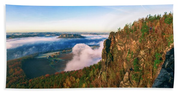 Mist Flow Around The Fortress Koenigstein Beach Towel