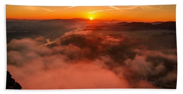 Misty Sunrise On The Lilienstein Beach Towel