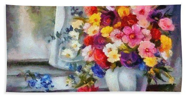 Monet Floral Edged Beach Sheet