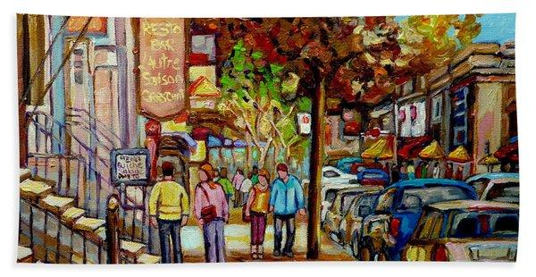 Montreal Streetscenes By Cityscene Artist Carole Spandau Over 500 Montreal Canvas Prints To Choose  Beach Towel