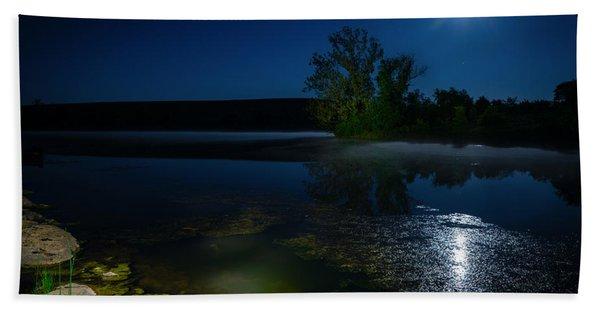 Moon Over Lake Beach Towel