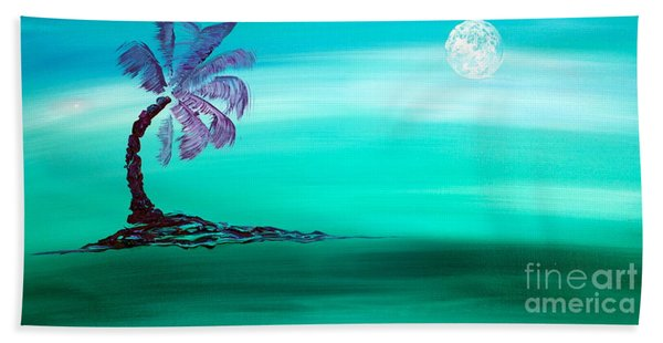 Beach Towel featuring the painting Moonlit Palm by Jacqueline Athmann
