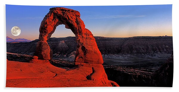 Moonrise At Delicate Arch, Arches Beach Towel