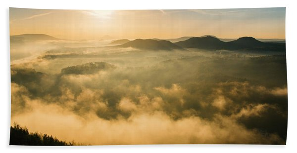 Morning Fog In The Saxon Switzerland Beach Towel