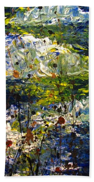 Beach Towel featuring the painting Mountain Creek by Jacqueline Athmann