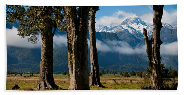 Mt Cook Through Trees Beach Towel
