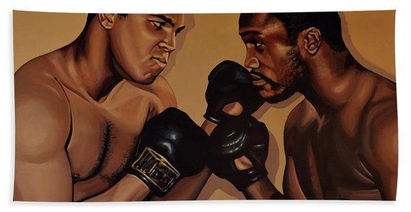 Muhammad Ali And Joe Frazier Beach Towel