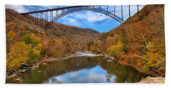 New River Gorge Reflections Beach Towel