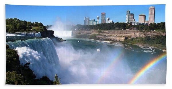 Beach Towel featuring the photograph Niagara Falls Double Rainbow by Jemmy Archer