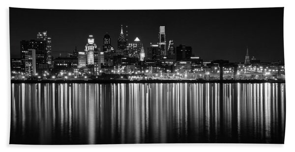 Nightfall In Philly B/w Beach Towel