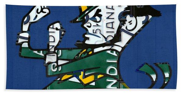 Notre Dame Fighting Irish Leprechaun Vintage Indiana License Plate Art  Beach Towel