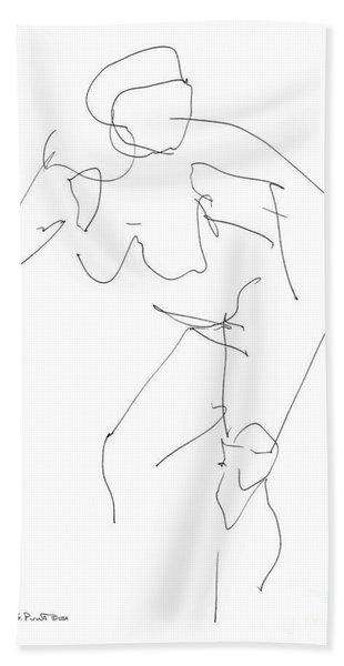 Nude Female Drawings 14 Beach Towel
