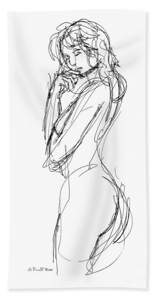 Nude Female Sketches 1 Beach Towel