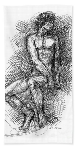 Nude Male Sketches 1 Beach Towel