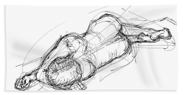 Nude Male Sketches 4 Beach Towel