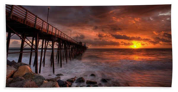 Oceanside Pier Perfect Sunset -ex-lrg Wide Screen Beach Towel