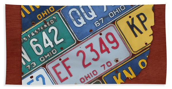 Ohio State Map Made Using Vintage License Plates Beach Towel