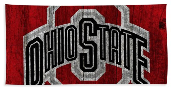 Ohio State University On Worn Wood Beach Towel