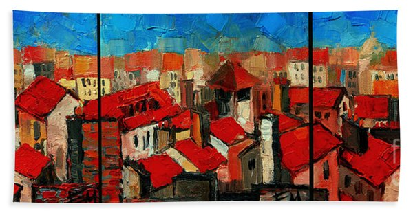 Old Roofs Of Lyon Beach Towel