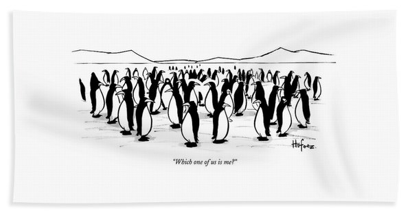 One Penguin In A Large Group Of Penguins Speaks Beach Towel