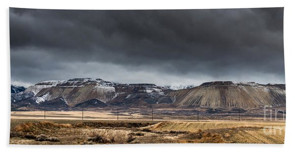Oquirrh Mountains Winter Storm Panorama 2 - Utah Beach Towel