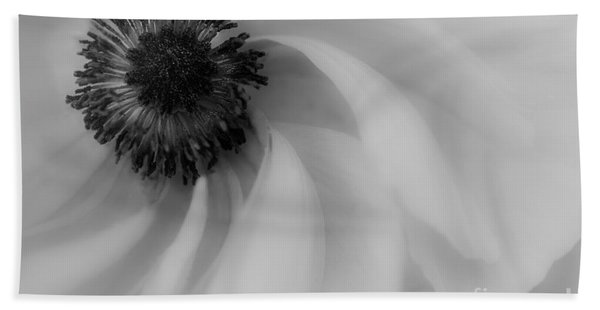 Orange Flower In Black And White Beach Towel